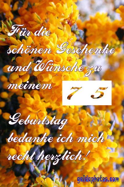 Geburtstagssprüche Zum 75 Geburtstag Geburtstag Gratis Dankeskarten